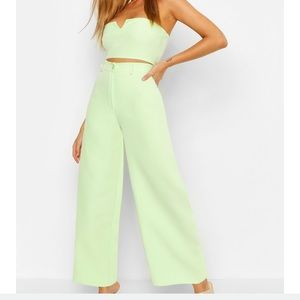 Boohoo Tops - Lime green tailored pants and crop top